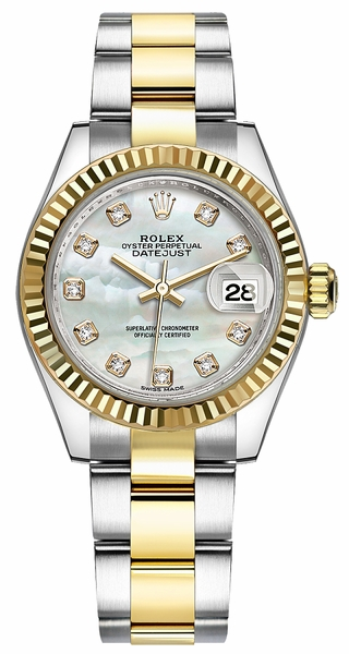 Rolex Lady-Datejust 28 Mother of Pearl Diamond Dial Watch 279173