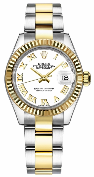 Rolex Lady-Datejust 28 White Roman Numeral Dial Watch 279173