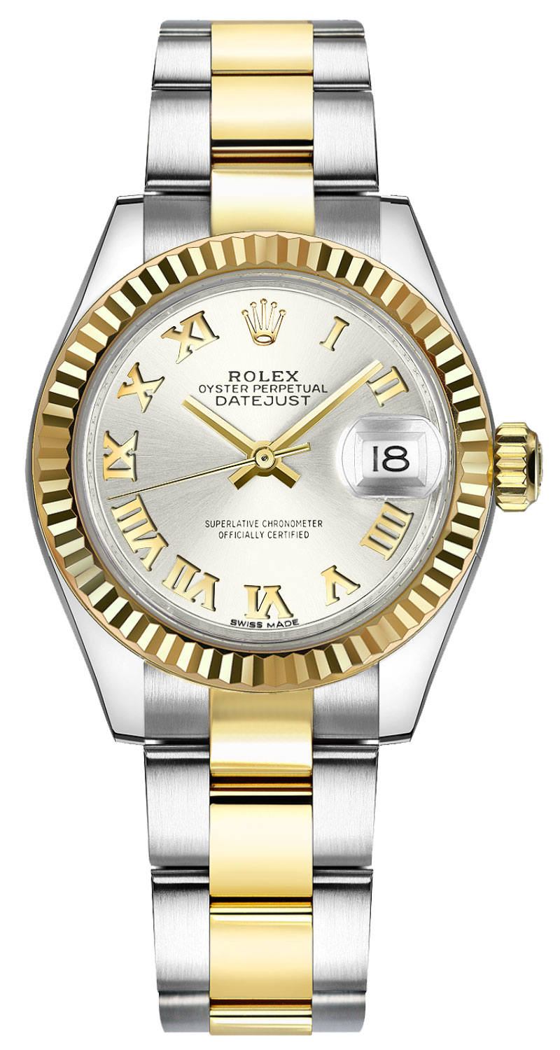 Rolex Lady-Datejust 28 Silver Roman Numeral Watch 279173