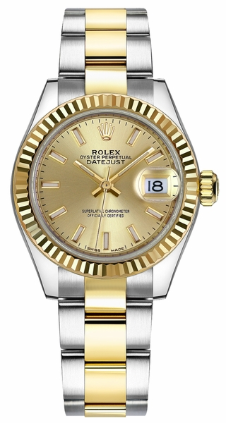 Rolex Lady-Datejust 28 Yellow Gold Fluted Bezel Watch 279173