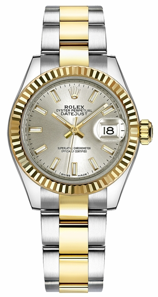 Rolex Lady-Datejust 28 Silver Dial Oyster Bracelet Watch 279173