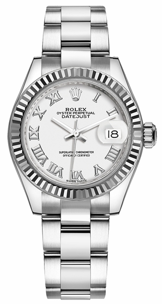 Rolex Lady-Datejust 28 White Roman Numeral Dial Watch 279174