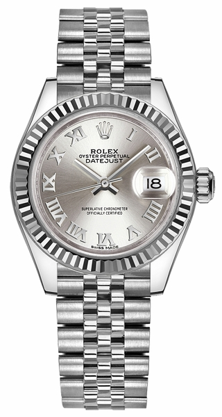 Rolex Lady-Datejust 28 Silver Roman Numeral Dial Watch 279174
