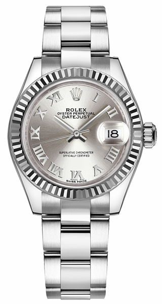 Rolex Lady-Datejust 28 Silver Roman Numeral Oyster Bracelet Watch 279174
