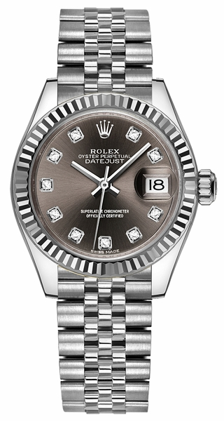 Rolex Lady-Datejust 28 Stainless Steel & White Gold Bezel Watch 279174