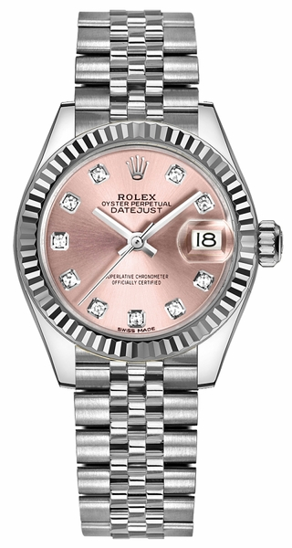 Rolex Lady-Datejust 28 Pink Diamond Dial Jubilee Bracelet Watch 279174