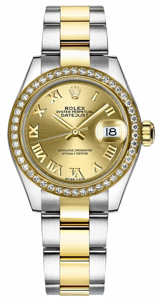 Rolex Lady-Datejust 28 Champagne Roman Numeral Dial Watch 279383RBR