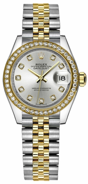 Rolex Lady-Datejust 28 Silver Diamond Watch 279383RBR
