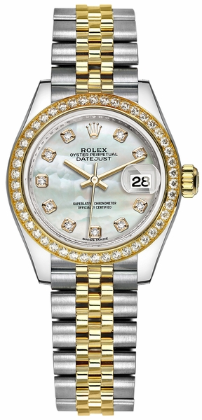 Rolex Lady-Datejust 28 Mother of Pearl Diamond Watch 279383RBR