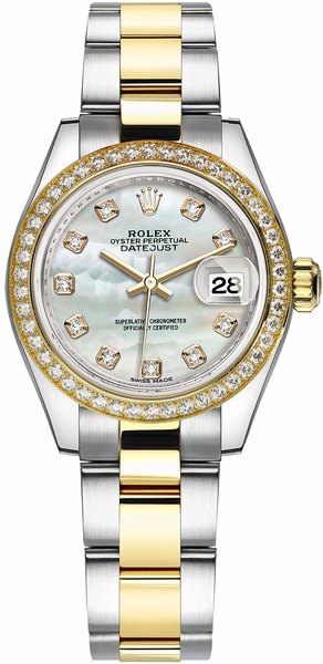 Rolex Lady-Datejust 28 Mother of Pearl Diamond Oyster Bracelet Watch 279383RBR