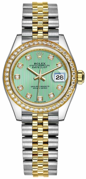 Rolex Lady-Datejust 28 Green Diamond Dial Watch 279383RBR