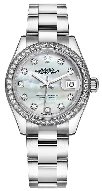 aa84e0c50a59 Rolex Lady-Datejust 28 Mother of Pearl Diamond Dial Watch 279384RBR - image  0 ...