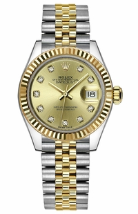 Rolex Lady-Datejust 28 Champagne Diamond Dial Watch 279173