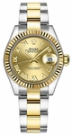 Rolex Lady-Datejust 28 Champagne Roman Numeral Dial Watch 279173