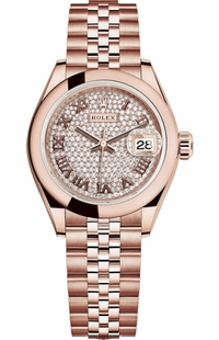 Rolex Lady-Datejust 28 Diamond Pave Dial Watch 279165