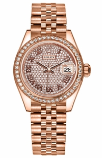 Rolex Lady-Datejust 28 Pave Dial Everose Gold Women's Watch 279135RBR