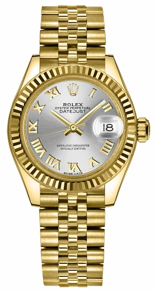 Rolex Lady-Datejust 28 Silver Roman Numeral Dial Watch 279178