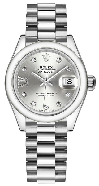 Rolex Lady-Datejust 28 Silver Dial Women's Watch 279166