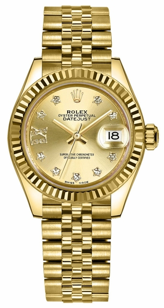 Rolex Lady-Datejust 28 Solid Gold Women's Watch 279178