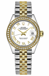 Rolex Lady-Datejust 28 White Roman Numeral Dial Watch 279383RBR