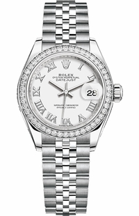 Rolex Lady-Datejust 28 White Roman Numeral Dial Watch 279384RBR