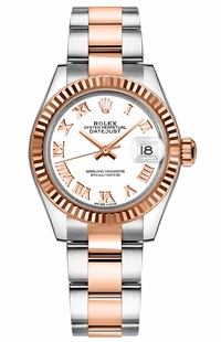 Rolex Lady-Datejust 28 White Roman Numeral Gold Watch 279171