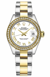 Rolex Lady-Datejust 28 White Roman Numeral Oyster Bracelet Watch 279383RBR