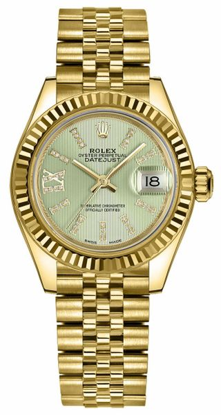 Rolex Lady-Datejust 28 Linden Green Dial Women's Watch 279178