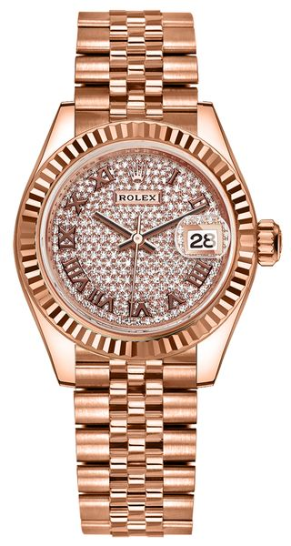 Rolex Lady-Datejust 28 Rose Gold Diamond Pave Women's Watch 279175