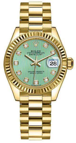 Rolex Lady-Datejust 28 Mint Green Diamond Dial Women's Watch 279178