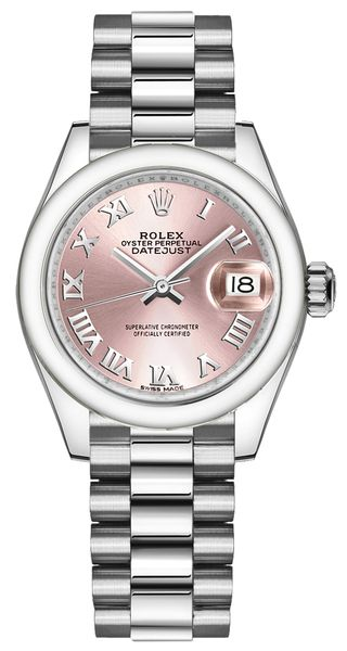 Rolex Lady-Datejust 28 Pink Roman Dial Women's Watch 279166