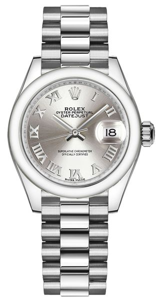 Rolex Lady-Datejust 28 Platinum Silver Dial Women's Watch 279166