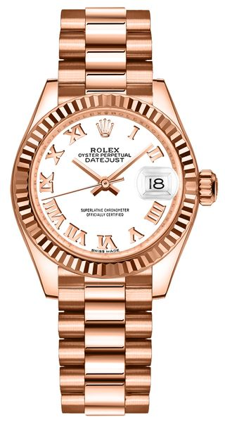Rolex Lady-Datejust 28 White Dial Rose Gold Women's Watch 279175