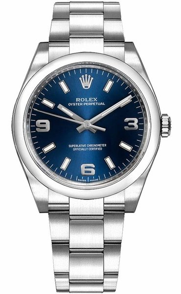 Rolex Oyster Perpetual 34 Blue Dial Watch 114200