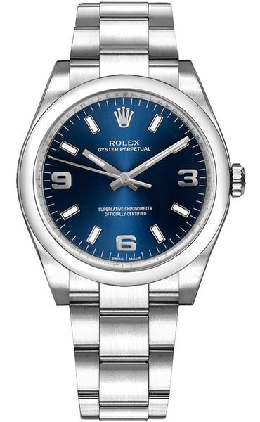 Rolex Oyster Perpetual 34 Blue Dial Midsize Watch 114200-0014