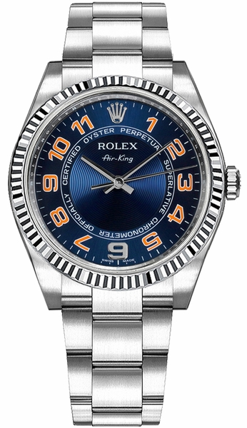 Rolex Oyster Perpetual Air-King Blue Dial Women's Watch 114234