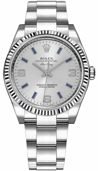 Rolex Oyster Perpetual Air-King White Gold Fluted Bezel Watch 114234