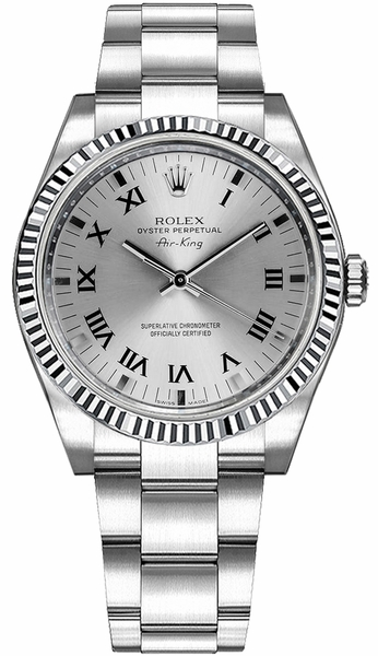 Rolex Oyster Perpetual Air-King Stainless Steel & Gold Bezel Watch 114234