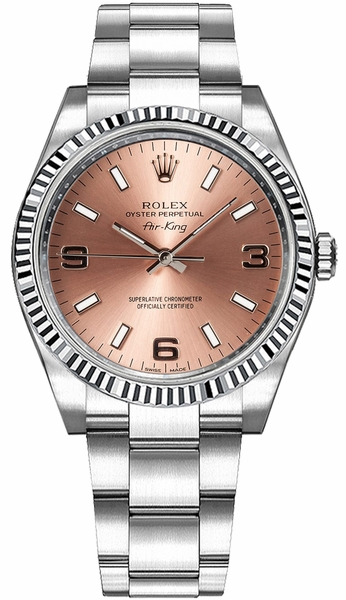 Rolex Oyster Perpetual Air-King Pink Dial Women's Watch 114234