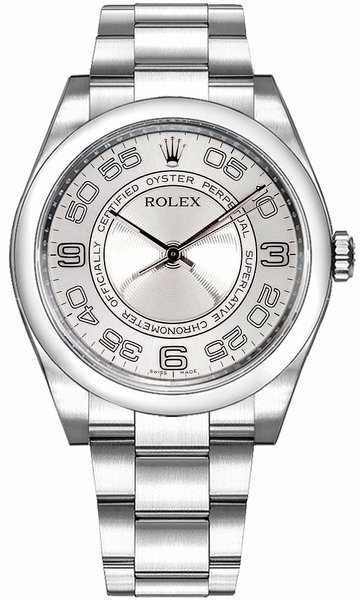 Rolex Oyster Perpetual 36 Domed Bezel Silver Dial Watch 116000