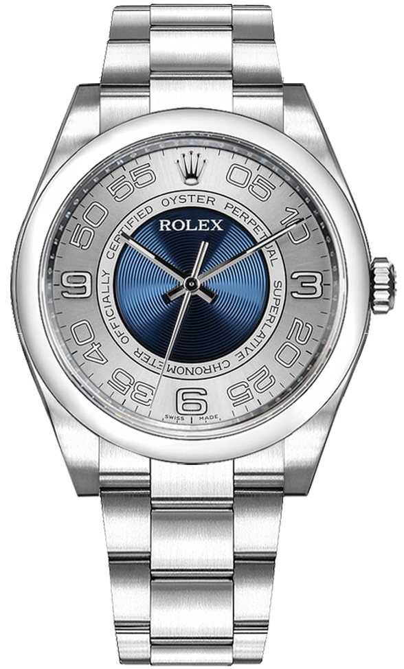 Rolex Oyster Perpetual 36 Blue Silver Dial Watch 116000