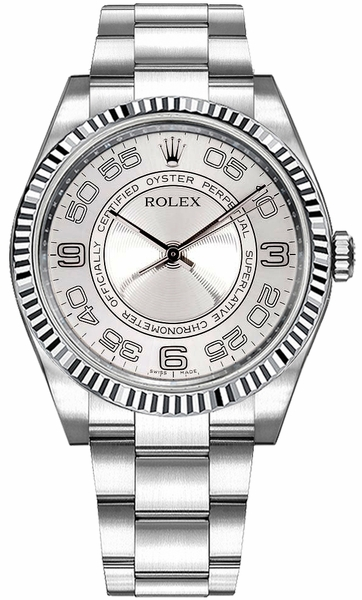 Rolex Oyster Perpetual 36 Silver Dial Fluted Bezel Watch 116034