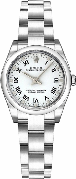 Rolex Oyster Perpetual 26 White Roman Numeral Dial Watch 176200