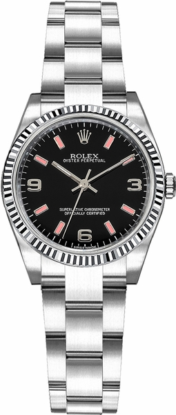 Rolex Oyster Perpetual 26 Black Dial Fluted Bezel Watch 176234