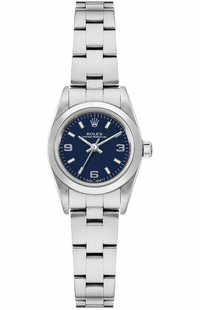Rolex Oyster Perpetual 24 Blue Dial Domed Bezel Women's Watch 67180