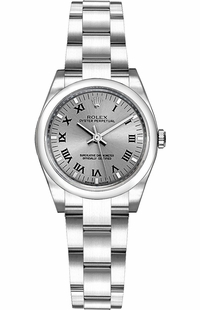 Rolex Oyster Perpetual 26 Rhodium Grey Dial Watch 176200