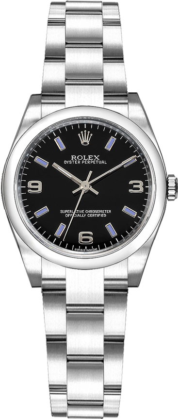 Rolex_Oyster_Perpetual_26_Oyster_Bracelet_Black_Dial_Watch_176200