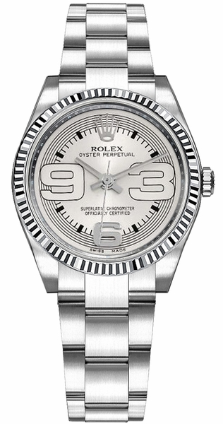 Rolex Oyster Perpetual 31 Silver Dial Gold & Steel Watch 177234