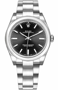 Rolex Oyster Perpetual 34 Steel Black Dial Watch 114200-0023