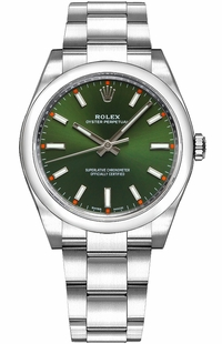 Rolex Oyster Perpetual 34 Green Dial Luxury Watch 114200
